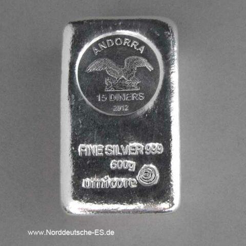 Silberbarren 500 g Andorra Umicore Münzbarren 15 Diners