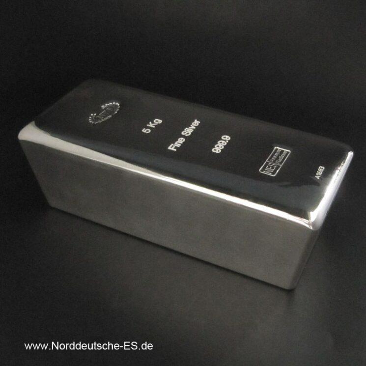 Silberbarren 5Kg Feinsilber 9999 Norddeutsche Bild1