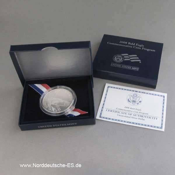 USA 1 Dollar Silbermünze Bald Eagle 2008 Zertifikat OVP