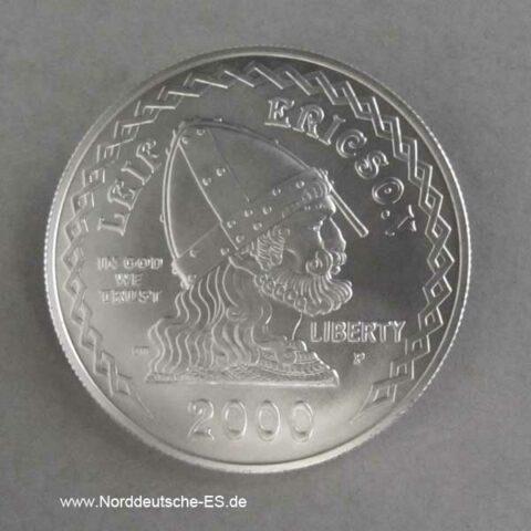 USA 1 Dollar Silbermünze Leif Ericson 2000