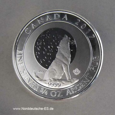 Kanada 2 Dollars Heulender Wolf 2017 Solbermünze