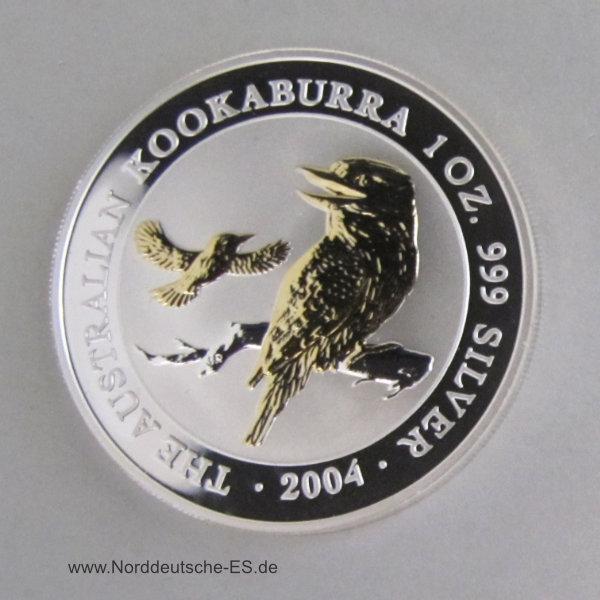 Australien 1 oz Kookaburra teilvergoldet Silbermünze 2004
