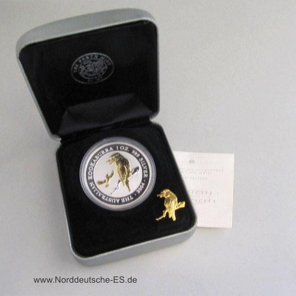 Australien 1 oz Kookaburra teilvergoldet Silbermünze und Pin 2004 OVP mit Zertifikat