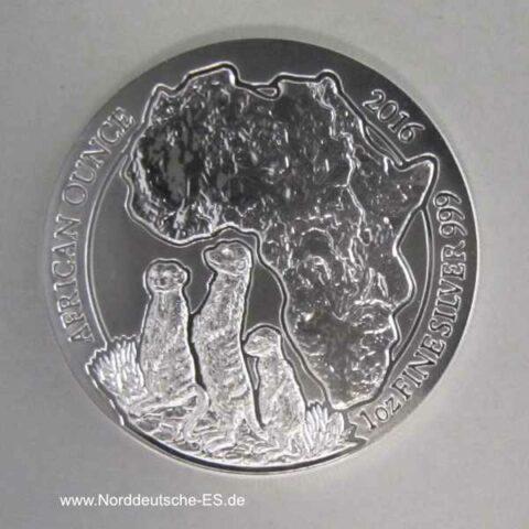 Ruanda 1 oz Silber 50 RWF African Ounce Erdmännchen 2016