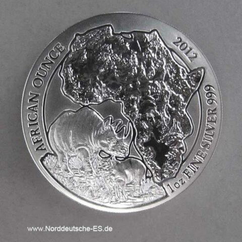 Ruanda 1 oz Silber 50 RWF African Ounce Nashorn 2012 Stempelglanz