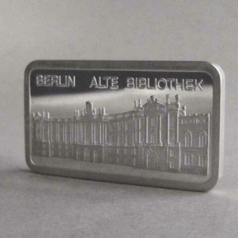 Silberbarren 1 oz Berlin Alte Bibliothek 999 Feinsilber Motivbarren