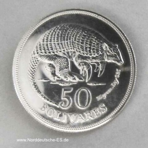 Venezuela 50 Bolivares Gürteltier Silber