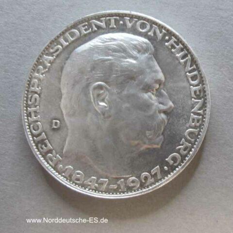 Gedenkmünze Hindenburg Silbermedaille 1927