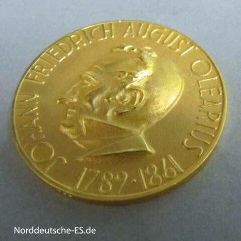 Goldmedaille Alte Leipziger Lebensversicherung Johann Friedrich Olearius