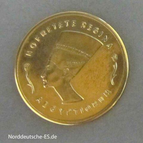 Ägypten Goldmedaille Nofretete Regina Aegyptiorum Aureum Eternum Est