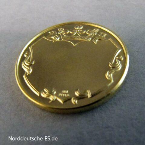 Goldmedaille Sternzeichen Gravur Fläche gekröntes Wappen HH 999 Feingold