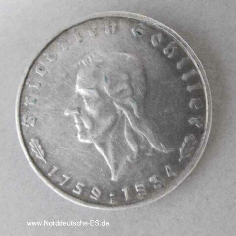 Deutsches Reich 2 Reichsmark 1934 Friedrich Schiller