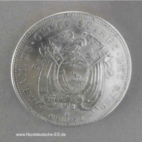 Ecuador 5 Sucres Silbermünze Cinco Sucres 1944 Mexiko