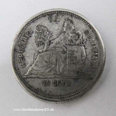 Guatemala 25 Centavos 1888