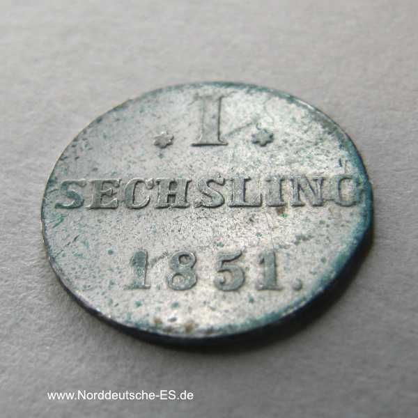 Hamburg Stadt 1 Sechsling 1851
