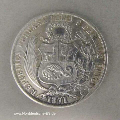 Peru 1 Sol Silbermünze 1871