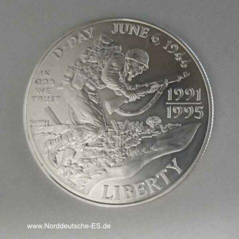 USA 1 Dollar Silbermünze D-Day 1995