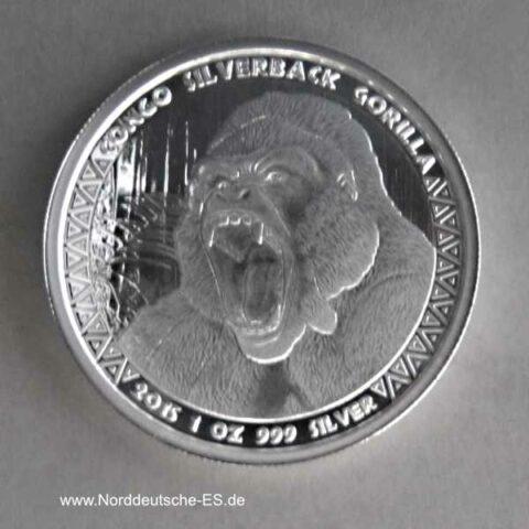 Kongo 1 oz Silber 5000 Francs Gorilla 2015 Spiegelglanz