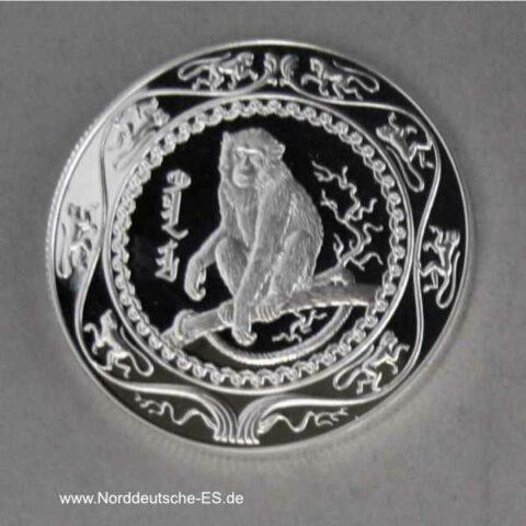Mongolei 500 Togrog Silbermünze Affe 2004 Lunarkalender
