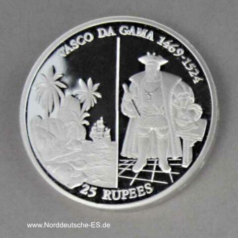 Seychellen25 Rupees Silber 1995 Vasco da Gama