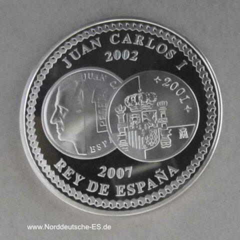 Spanien 10 Euro Silbermünze V Anniversario del Euro 2007