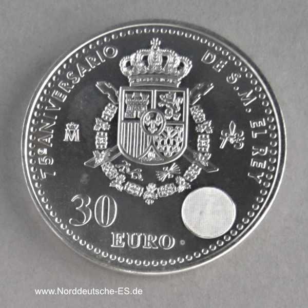 Spanien 30 Euro Juan Carlos 2013 Silbermünze 75 Geburtstag