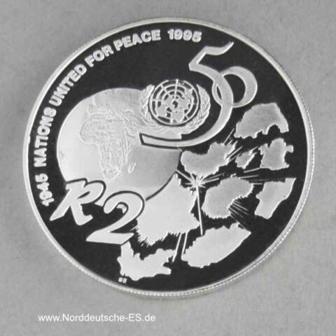 Südafrika 2 Rand Silbermünze Nations United for Peace 1995