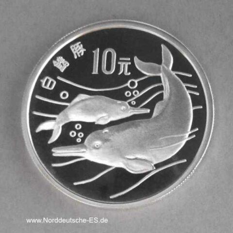 China 10 Yuan Silber 1988 Delfine Endangered Wildlife