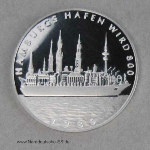 Hansestadt Hamburg Platin Gedenkprägung 1989 Hamburgs Hafen wird 800