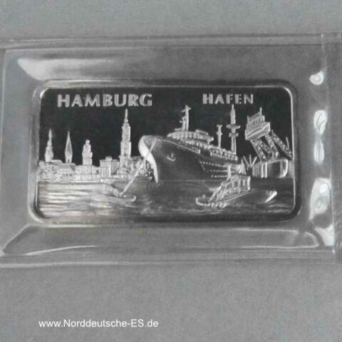 Silbermotivbarren Heraeus 1 Unze Feinsilber 999 Hamburg Hafen