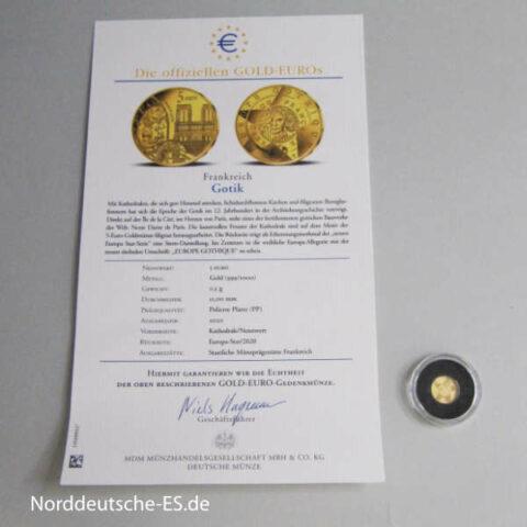 Frankreich 5 Euro Gotik Notre Dame Gold Euro 2020 mit Zertifikat