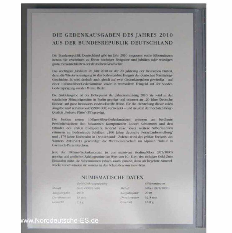 Gold-Gedenkprägung 20 Jahre Deutsche Einheit 1990-2010 und 10 Euro Silber-Gedenkmünzen