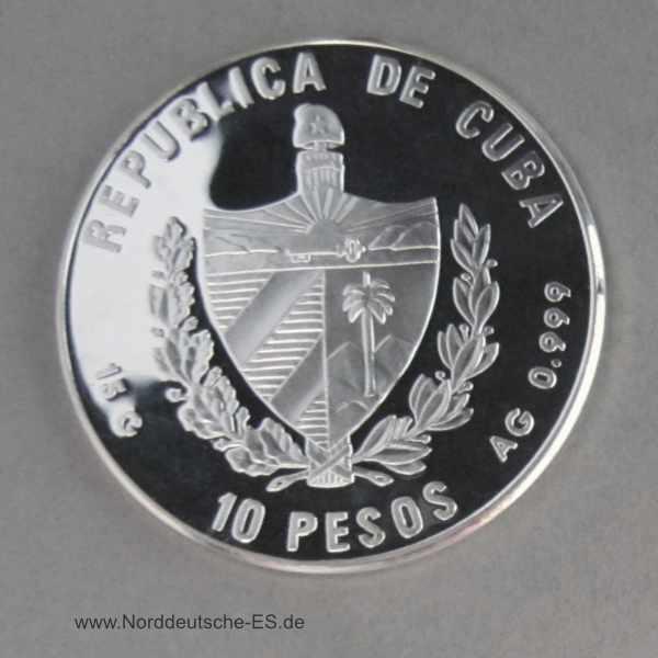 Kuba 10 Pesos Feinsilber PP 15g