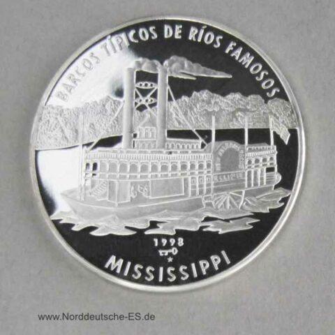 Kuba 10 Pesos 1998 Feinsilber 999 Mississippi-Dampfer