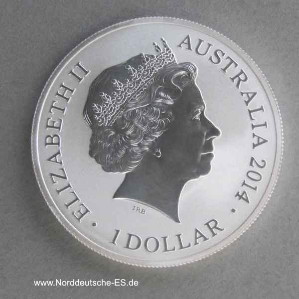 Australien Kangaroo im Outback 1 oz Silbermünze 2014 Privy Mark f15