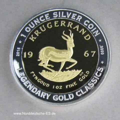 Benin 1000 Franken 2015 1 oz Silber teilvergoldet Krugerrand