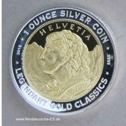 Benin 1000 Franken 2015 1 oz Silber teilvergoldet Helvetia