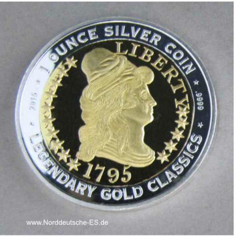 Benin 1000 Franken 2015 1 oz Silber teilvergoldet Liberty