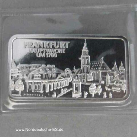 Silberbarren Heraeus 1_2 Unze Motivbarren Frankfurt Hauptwache um 1700
