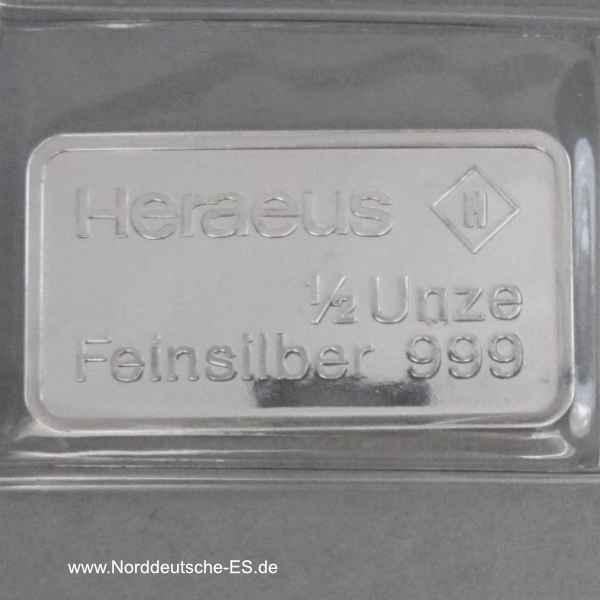 Silberbarren Heraeus ½ Unze Feinsilber