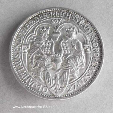 Deutsches Reich 3 Reichsmark 1927 Silbermünze 1000 Jahre Nordhausen