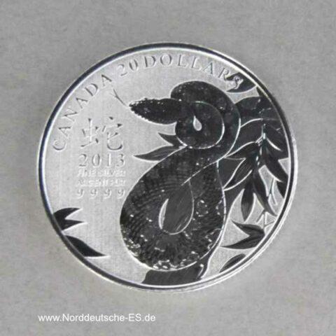 Kanada 20 Dollars Year of the Snake 2013 Silbermünze