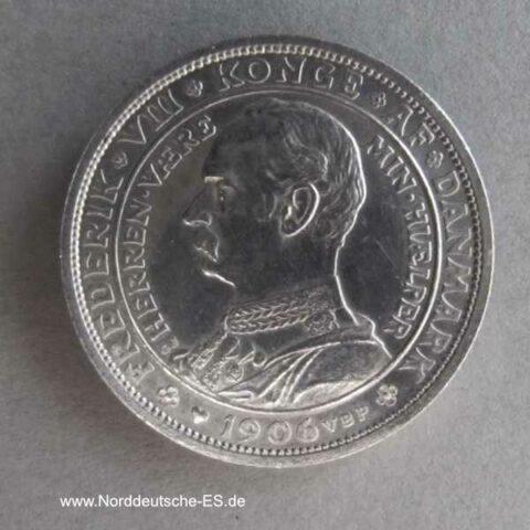 Dänemark 2 Kronen Christian IX Frederik VIII 1906 Silbermünze