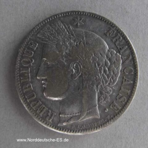 Frankreich 5 Francs 1850 A Cereskopf 1849-1851 Silber