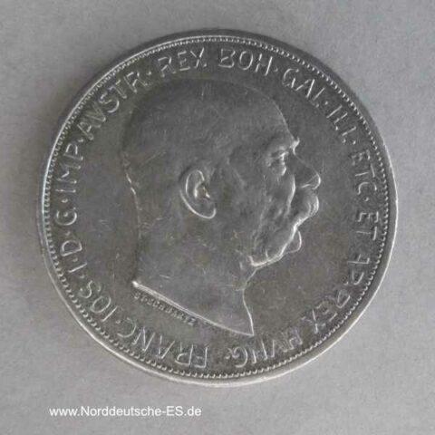 Österreich 5 Kronen Silber Franz Joseph I 1909 Schwartz