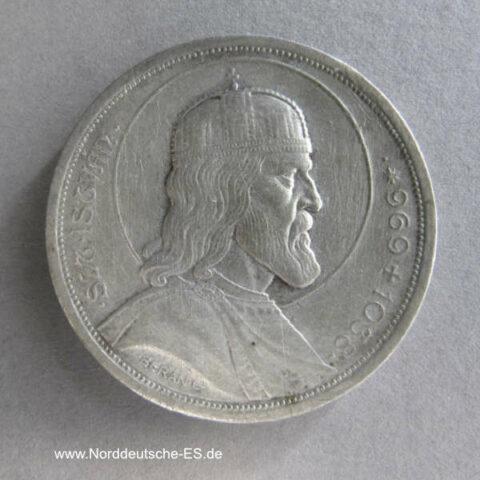 Ungarn 5 Pengö 1938 Gedenkmünze zum 900. Todestag von Stephan I.