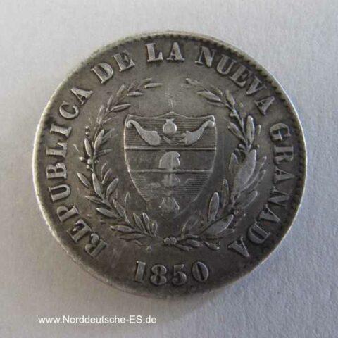 Kolumbien 2 Reales Silbermünze 1850
