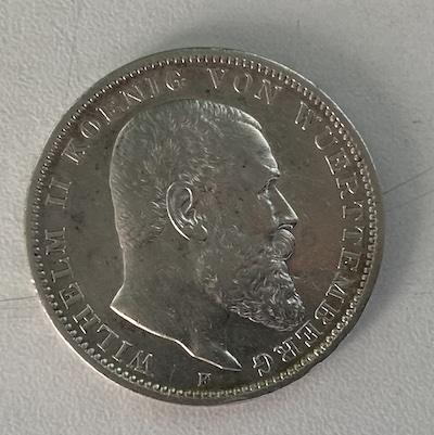 Wilhelm II König von Württemberg Silber 3 Mark