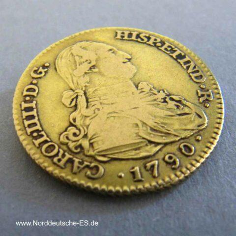 Spanien 2 Escudos Gold 1790 Carlos IV
